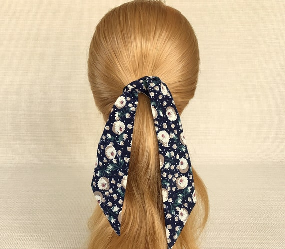 Hair Tie Flower Hair Tie Closeout Sale Ponytail Scarf Cotton Pony Scarf Under 10 On Sale Clearance Purse Scarf Floral Bun Scarf