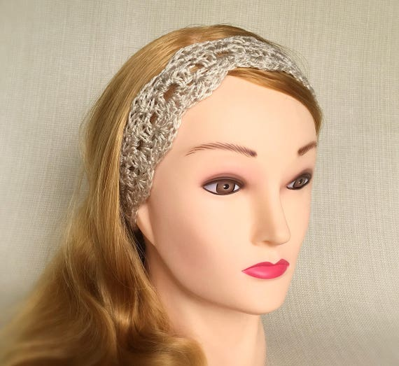 Beige crochet headband for Women tie headband Boho hair bands  8184af80ab3