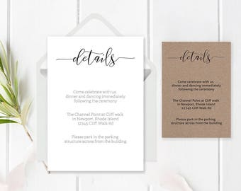 Wedding Details Card Template, Printable Wedding Info, Accommodations Card, DIY Editable Invitation, Rustic Wedding, Wedding Enclosure Cards