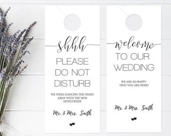 Wedding Door Hanger Template, Please Do Not Disturb Door Hanger, Wedding  Itinerary, Rustic