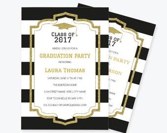 glitter graduation invitation pdf template black white stripe printable graduation announcement party invitation class of diy you print