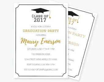 Graduation Invitation PDF Template, Class of, Printable Graduation Invitation, Graduation Announcement Party Invitation, DIY You Print