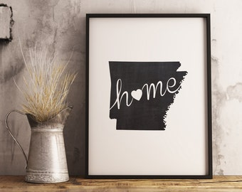 Arkansas Wall Art Chalkboard Home Printable Poster, State of Arkansas Typography Poster, Chalkboard Wall Hanging, State Map, Wall Art Poster