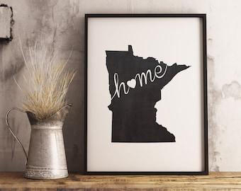 Minnesota Wall Art Chalkboard Home Printable Poster, State of Minnesota Typography Poster, Chalkboard Wall Hanging, Wall Art Poster