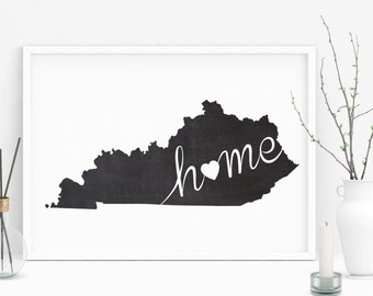 Kentucky Wall Art, Chalkboard Home Poster, State of Kentucky Typography Poster, Chalkboard Wall Decor, State Map, Printable Wall Art Poster