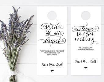 calligraphy wedding door hanger template please do not etsy