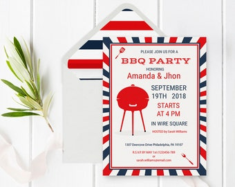 pig roast bbq party invitation template with envelope liner etsy