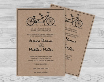 bike wedding invitations printable etsy