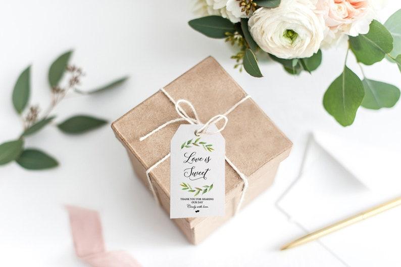 Kraft Wedding favour Thank you tags rose floral design