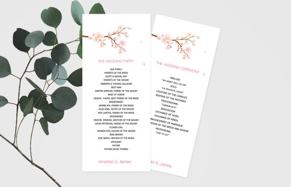 cherry blossom wedding program template tea length etsy