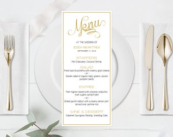 Calligraphy Wedding Menu Template, Wedding Menu Printable, Gold Wedding Menu, Wedding Menu Printable Template, Kraft Menu, DIY You Print