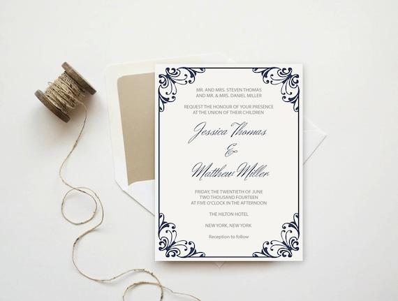 flourish frame wedding invitation printable pdf template etsy