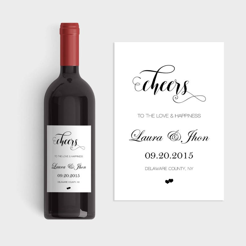 Wedding Wine Labels Wedding Wine Label Template Cheers Wine Etsy