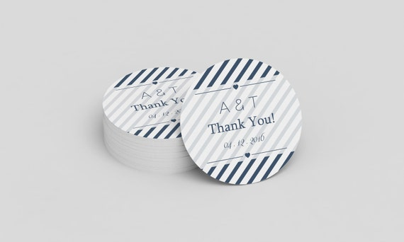wedding thank you stickers template navy heart carnival etsy