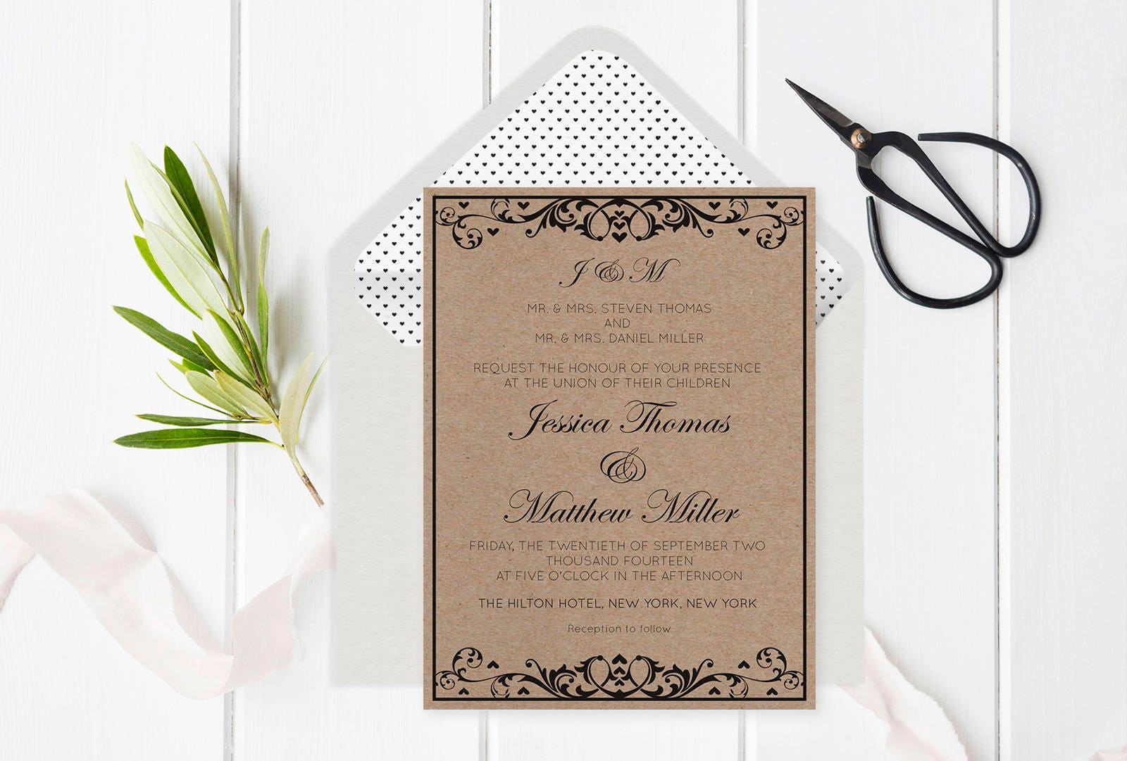 Flourish Wedding Invitations: Rustic Flourish Wedding Invitation Template Monogram