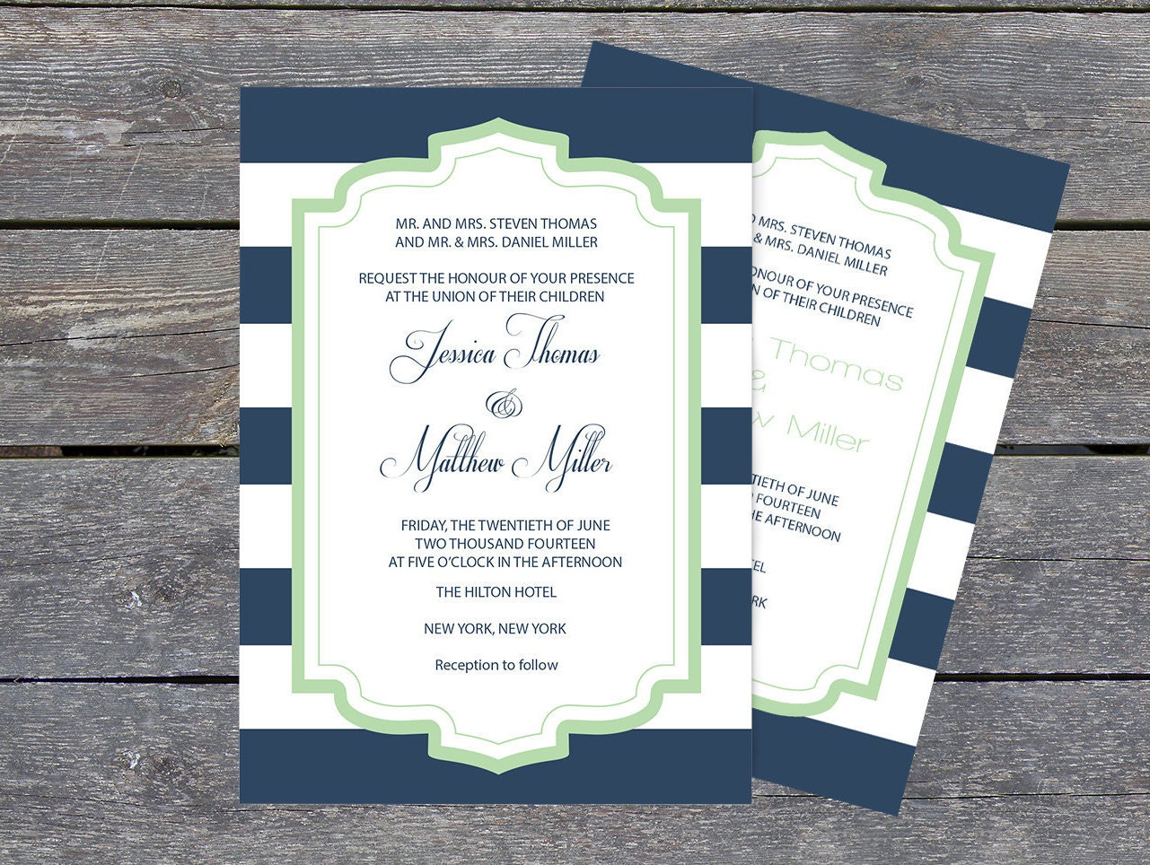 Striped Wedding Invitations: Wedding Invitation Template Navy & White Striped Mint