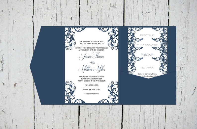 Diy Pocket Wedding Invitation Template Set Navy Elegant Etsy