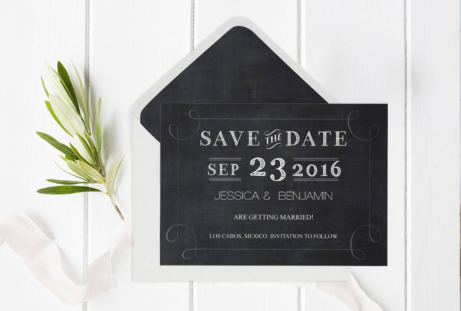 Chalkboard Save the Date Template with Envelope Liner