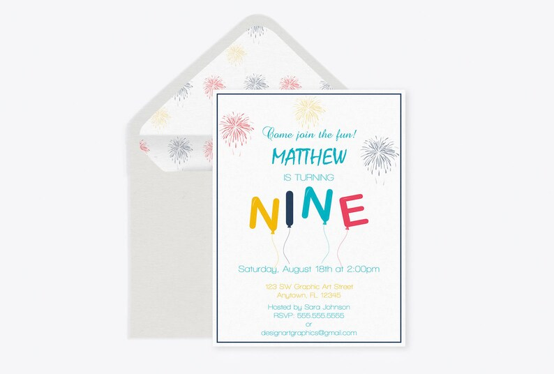 Nine Birthday Balloon Invitation Template Fireworks Printable Editable PDF 9th Invite DIY You Print