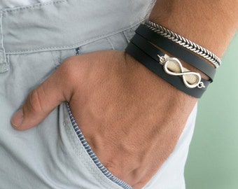 Men's Bracelet Set - Set of 2 Bracelets For Men - Men's Vegan Bracelet - Men's Infinity Bracelet - Men's Jewelry - Men's Gift - Boyfriend