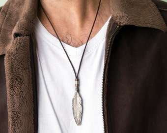 Men's Necklace - Men's Leather Necklace - Men's Silver Necklace - Men's Jewelry - Men's Gift - Boyfriend Gift - Husband Gift - Gift For Him