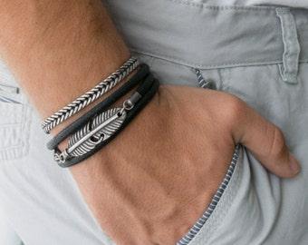 Men's Bracelet Set - Set of 2 Bracelets For Men - Men's Feather Bracelet - Men's Vegan Bracelet - Men's Jewelry - Men's Gift - Boyfriend