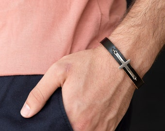 Men's Cross Bracelet - Men's Religious Bracelet - Men's Christian Bracelet - Religious Jewelry - Christian Jewelry - Religious Gift