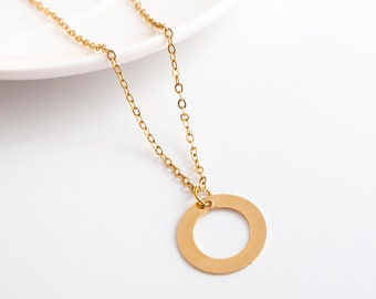 Gold Circle Necklace - Gold Karma Necklace - Simple Gold Necklace - Minimal Necklace - Minimalist Jewelry - Layering Necklace - Dainty