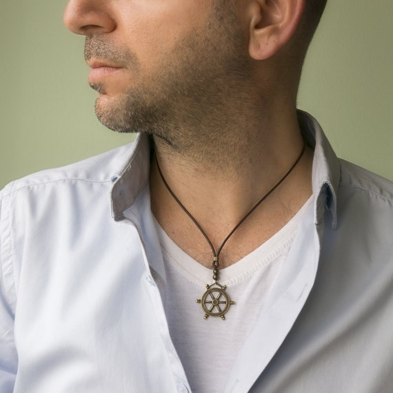 Men Choker Necklace Men Necklace Men Jewelry Men Geometric Necklace Husband Gift Boyfriend Gift Men Leather Necklace Men Gift
