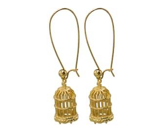 Bird Cage Earrings - Gold Earrings - Long Earrings - Statement Earrings - Casual Earrings - Everyday Jewelry - Minimal Earrings - Feminine
