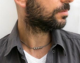 Men's Necklace - Men's Choker Necklace - Men's Silver Necklace - Men's Vegan Necklace - Men's Jewelry - Men's Gift - Boyfriend Gift NV6