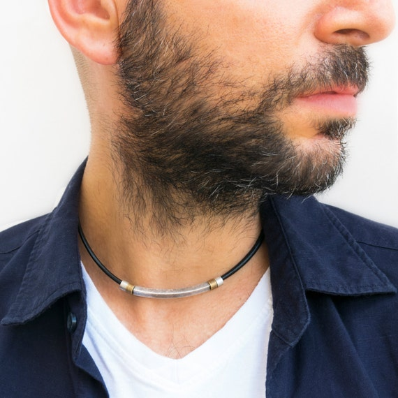 Mens Necklace*Leather choker*Choker necklace*Black leather choker*Surfer Necklace*Gift for him*Boyfriend Gift*Beach Necklace