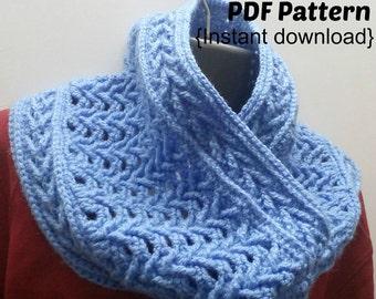 Crochet Cowl Pattern, Cupid's Dilemma cowl pattern, INSTANT DOWNLOAD PDF, Infinity scarf, Snood, Arrow stitch,