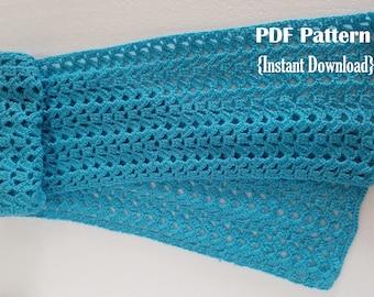 Crochet Pattern, Brooke Scarf, INSTANT DOWNLOAD PDF, Women's scarf pattern, lacy crochet scarf pattern