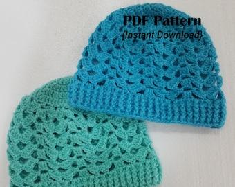 Crochet Hat Pattern, Brooke Beanie, INSTANT DOWNLOAD PDF,  adult hat crochet pattern, seamless hat pattern