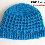Crochet Hat Pattern, Crochet Waffle stitch hat with ribbed brim, INSTANT DOWNLOAD PDF,  adult hat crochet pattern, seamless hat pattern