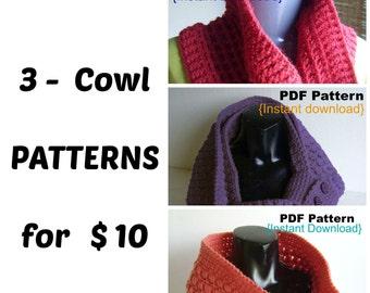 Crochet Pattern, Set of 3 cowl PDF patterns, Instant Download, Cluster stitch, Waffle stitch, Puff stitch, Infinity scarf, Neckwarmer, Snood