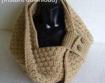 Crochet Pattern, Cluster Stitch Cowl, PDF INSTANT DOWNLOAD, Infinity scarf, Cowl with buttons, Snood