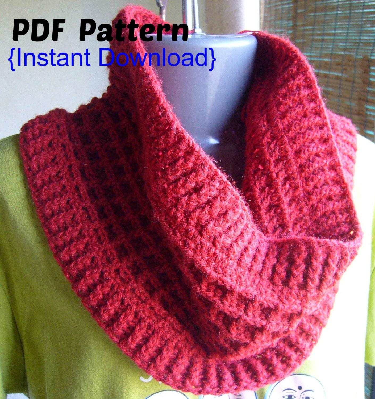 Crochet Pattern, Crochet Waffle stitch cowl with ribbed cuffs ...