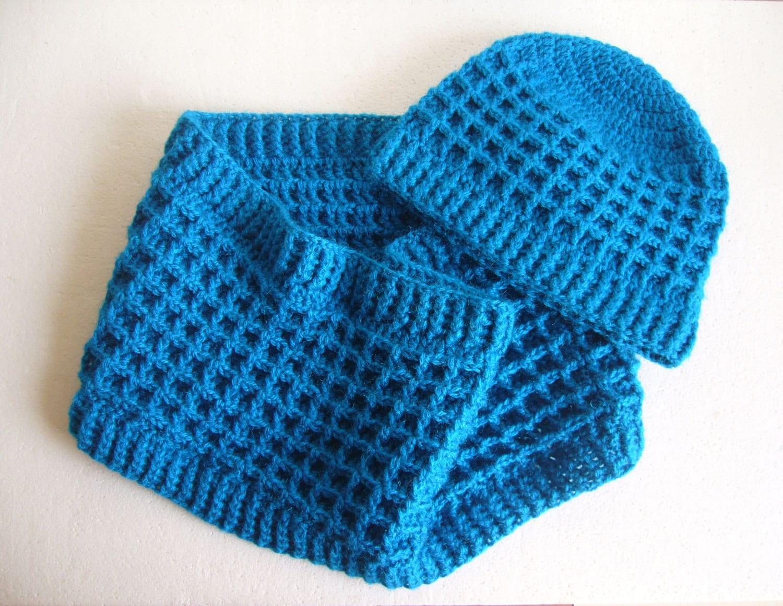 Crochet Pattern Set, 3 Waffle stitch PDF patterns, Cowl, Scarf and ...