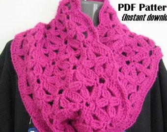 Crochet Pattern, Flowers in my window cowl, INSTANT DOWNLOAD PDF, Infinity scarf, Snood, crochet cowl pattern, women's cowl pattern, floral