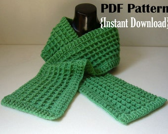 Crochet Pattern, Waffle stitch scarf with ribbed border, INSTANT DOWNLOAD PDF, Unisex scarf pattern, men's scarf pattern