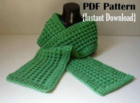 Crochet Pattern Waffle Stitch Scarf With Ribbed Border Etsy