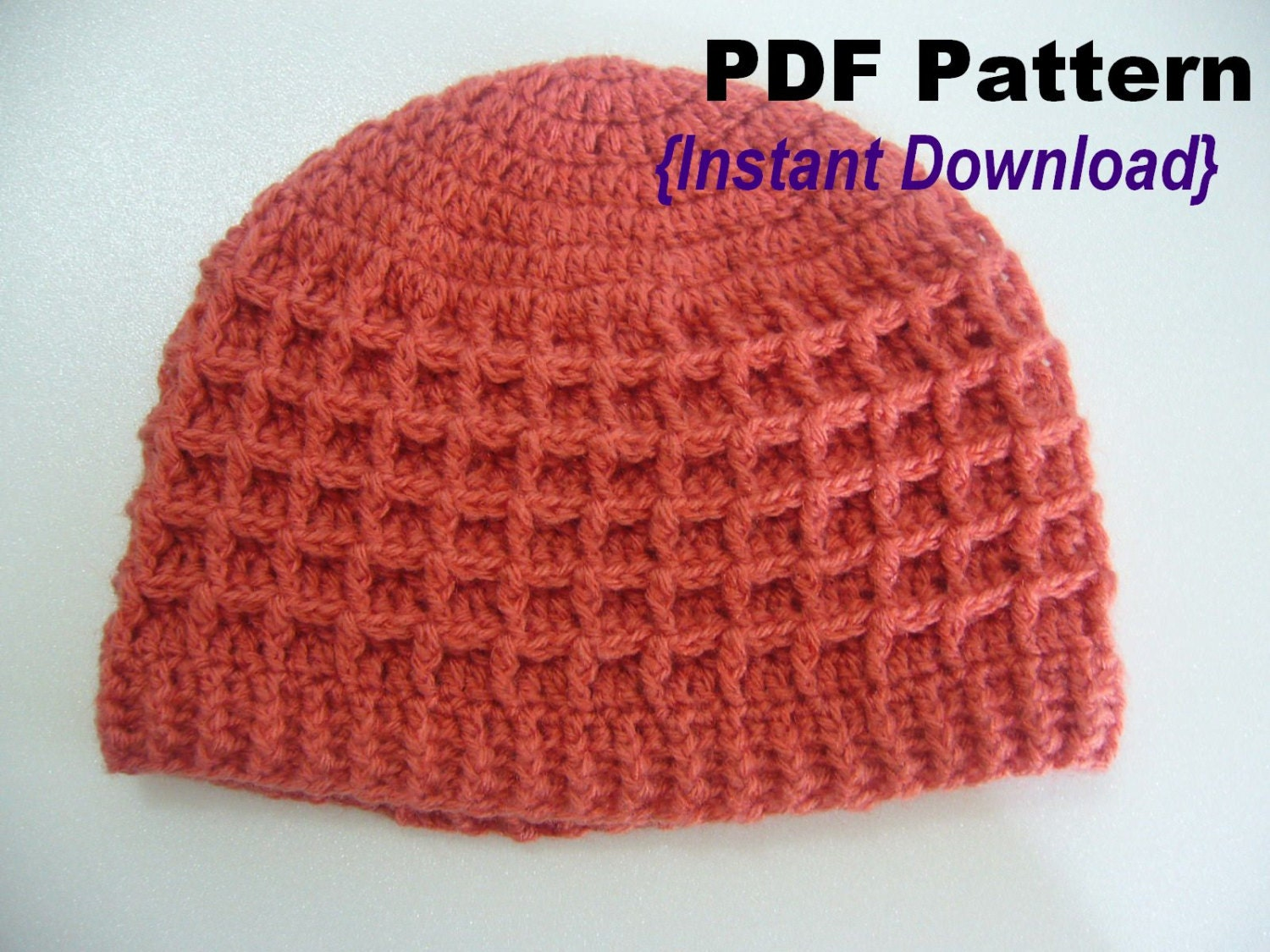Crochet Hat Pattern Crochet Waffle Stitch Hat With Ribbed Etsy