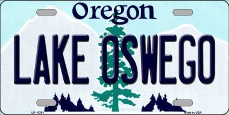 Lake Oswego State Background Novelty Metal License Plate image 0