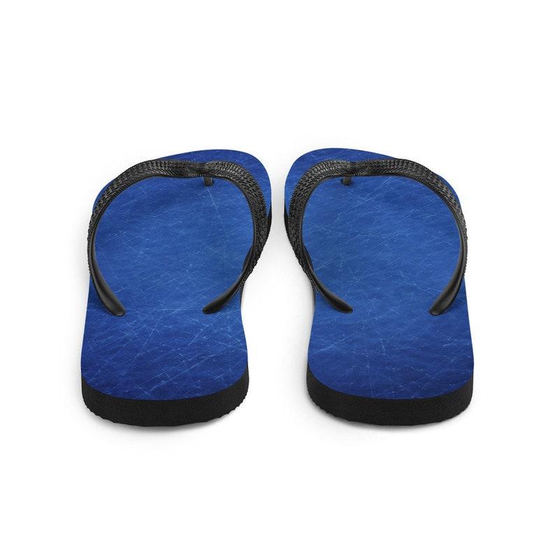 Scratched Dark Blue Grunge Flip-Flops