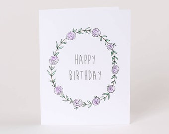 Happy Birthday Card // Flower Birthday Card