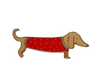 VINTAGE HAIRY SAUSAGE DOG Terrier,DORGI TYPE PIN BROOCH