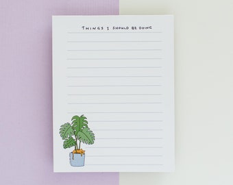 Notepad // Monstera and Cat Notepad  // Watercolour notepad