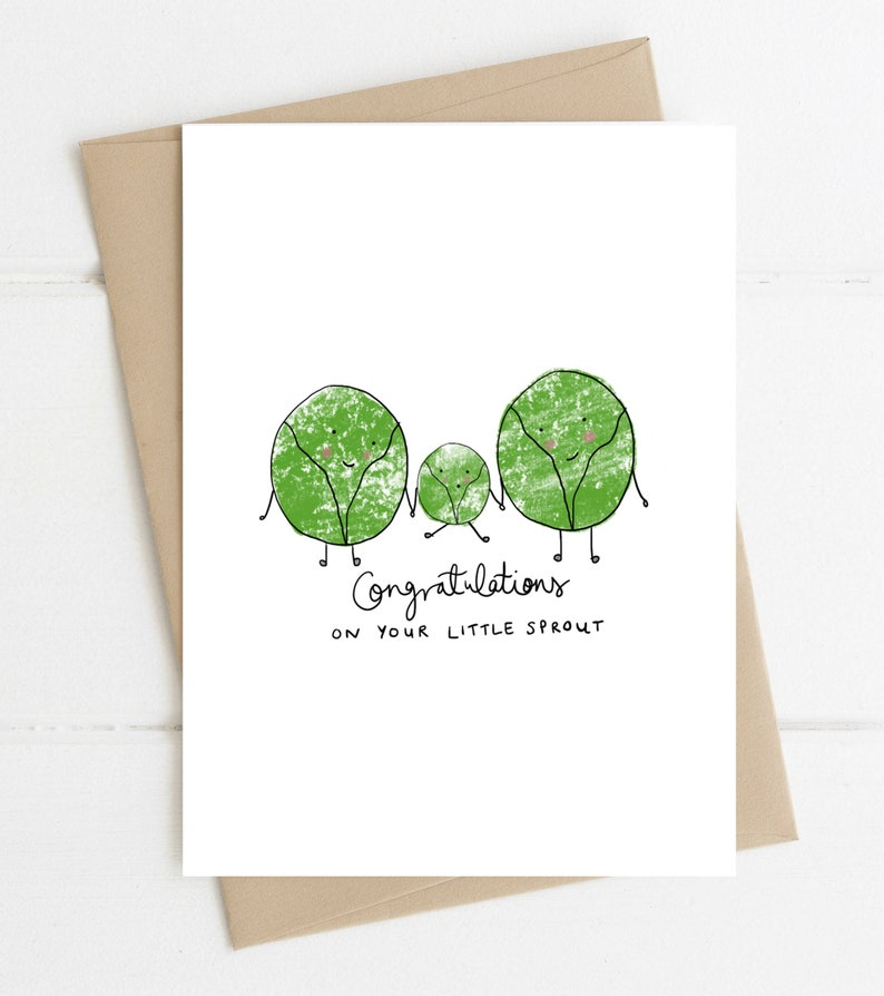 Baby Shower Card // Little Sprout // New Baby Card image 0